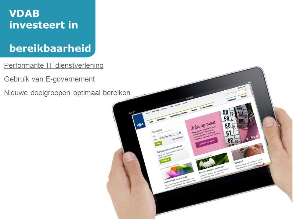 VDAB investeert in bereikbaarheid Performante IT-dienstverlening Gebruik van E-governement Nieuwe doelgroepen optimaal bereiken