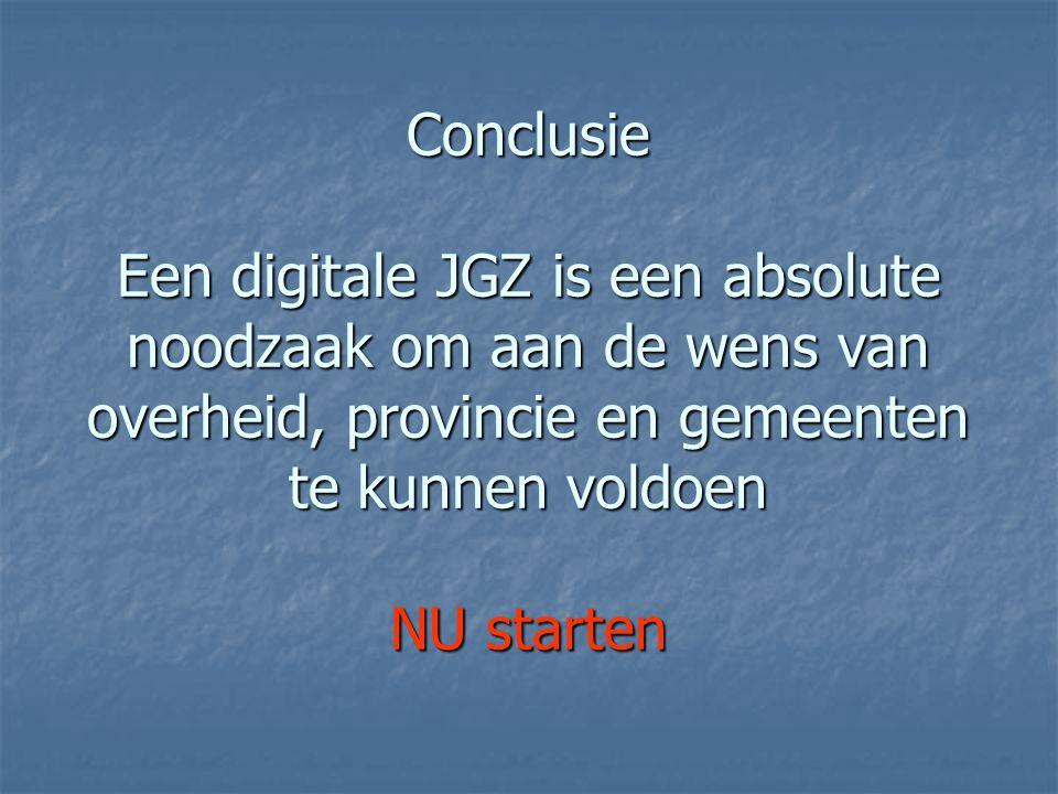Conclusie Een digitale JGZ is een absolute noodzaak om aan de wens van overheid, provincie en gemeenten te kunnen voldoen NU starten