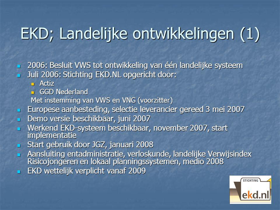 EKD; Landelijke ontwikkelingen (1) 2006: Besluit VWS tot ontwikkeling van één landelijke systeem 2006: Besluit VWS tot ontwikkeling van één landelijke systeem Juli 2006: Stichting EKD.NL opgericht door: Juli 2006: Stichting EKD.NL opgericht door: Actiz Actiz GGD Nederland GGD Nederland Met instemming van VWS en VNG (voorzitter) Europese aanbesteding, selectie leverancier gereed 3 mei 2007 Europese aanbesteding, selectie leverancier gereed 3 mei 2007 Demo versie beschikbaar, juni 2007 Demo versie beschikbaar, juni 2007 Werkend EKD-systeem beschikbaar, november 2007, start implementatie Werkend EKD-systeem beschikbaar, november 2007, start implementatie Start gebruik door JGZ, januari 2008 Start gebruik door JGZ, januari 2008 Aansluiting entadministratie, verloskunde, landelijke Verwijsindex Risicojongeren en lokaal planningssystemen, medio 2008 Aansluiting entadministratie, verloskunde, landelijke Verwijsindex Risicojongeren en lokaal planningssystemen, medio 2008 EKD wettelijk verplicht vanaf 2009 EKD wettelijk verplicht vanaf 2009