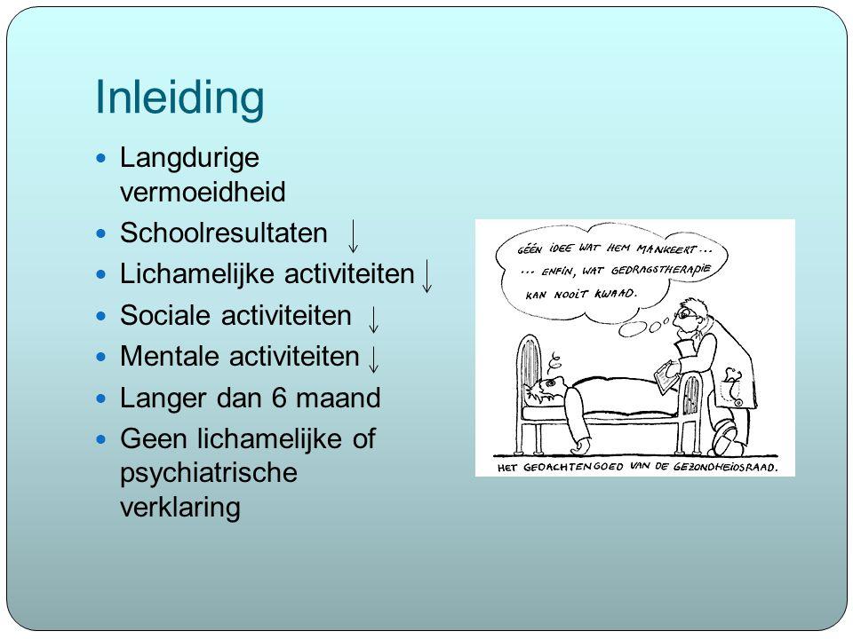 Inleiding Langdurige vermoeidheid Schoolresultaten Lichamelijke activiteiten Sociale activiteiten Mentale activiteiten Langer dan 6 maand Geen lichame