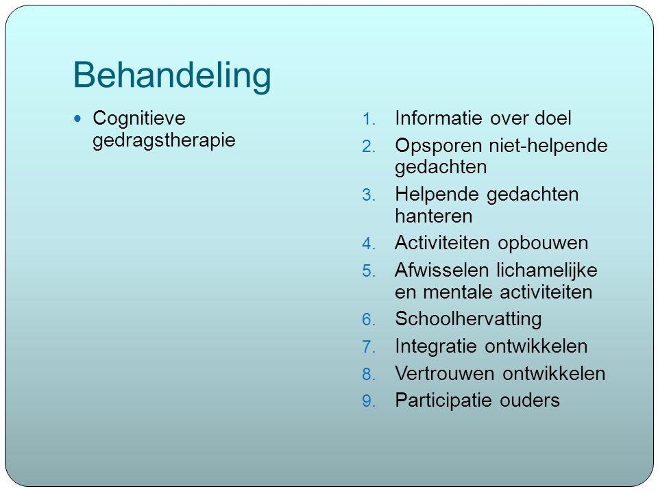 Behandeling Cognitieve gedragstherapie 1. Informatie over doel 2. Opsporen niet-helpende gedachten 3. Helpende gedachten hanteren 4. Activiteiten opbo
