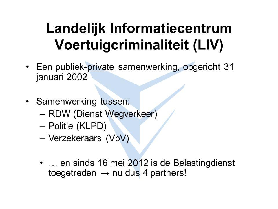 Landelijk Informatiecentrum Voertuigcriminaliteit (LIV) Een publiek-private samenwerking, opgericht 31 januari 2002 Samenwerking tussen: –RDW (Dienst Wegverkeer) –Politie (KLPD) –Verzekeraars (VbV) … en sinds 16 mei 2012 is de Belastingdienst toegetreden → nu dus 4 partners!