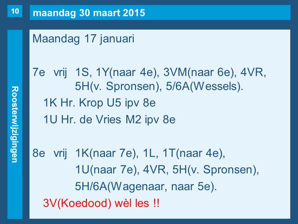 maandag 30 maart 2015 Roosterwijzigingen Maandag 17 januari 7evrij1S, 1Y(naar 4e), 3VM(naar 6e), 4VR, 5H(v. Spronsen), 5/6A(Wessels). 1K Hr. Krop U5 i
