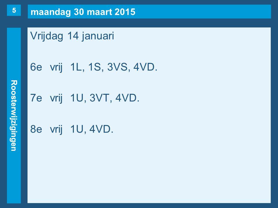 maandag 30 maart 2015 Roosterwijzigingen Vrijdag 14 januari 6evrij1L, 1S, 3VS, 4VD. 7evrij1U, 3VT, 4VD. 8evrij1U, 4VD. 5