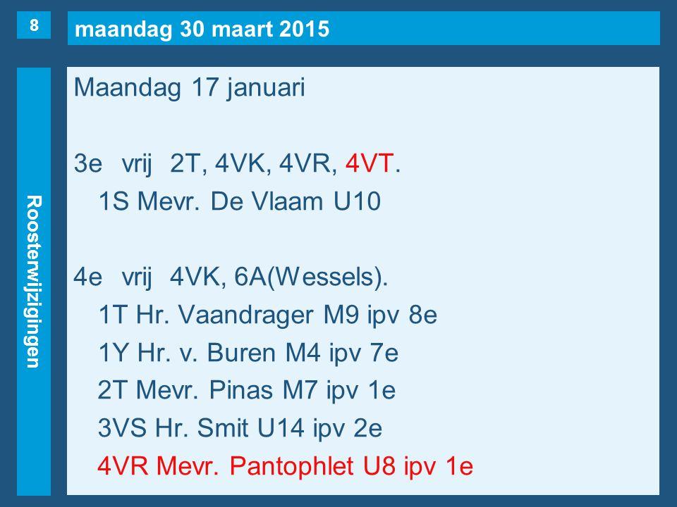 maandag 30 maart 2015 Roosterwijzigingen Maandag 17 januari 3evrij2T, 4VK, 4VR, 4VT. 1S Mevr. De Vlaam U10 4evrij4VK, 6A(Wessels). 1T Hr. Vaandrager M