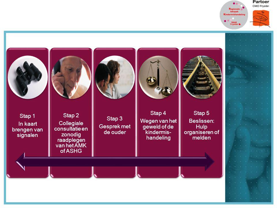 Stap 1 In kaart brengen van signalen Stap 2 Collegiale consultatie en zonodig raadplegen van het AMK of ASHG Stap 3 Gesprek met de ouder Stap 4 Wegen van het geweld of de kindermis- handeling Stap 5 Beslissen: Hulp organiseren of melden