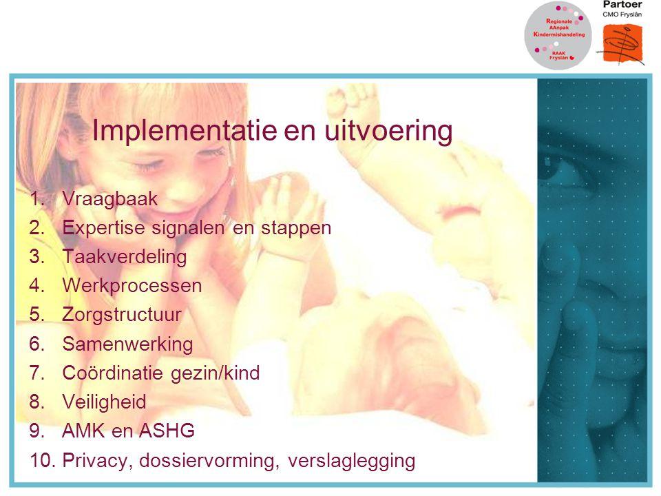 Implementatie en uitvoering 1.Vraagbaak 2.Expertise signalen en stappen 3.Taakverdeling 4.Werkprocessen 5.Zorgstructuur 6.Samenwerking 7.Coördinatie gezin/kind 8.Veiligheid 9.AMK en ASHG 10.Privacy, dossiervorming, verslaglegging