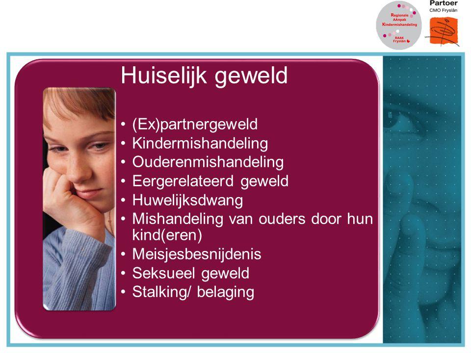 Huiselijk geweld (Ex)partnergeweld Kindermishandeling Ouderenmishandeling Eergerelateerd geweld Huwelijksdwang Mishandeling van ouders door hun kind(e