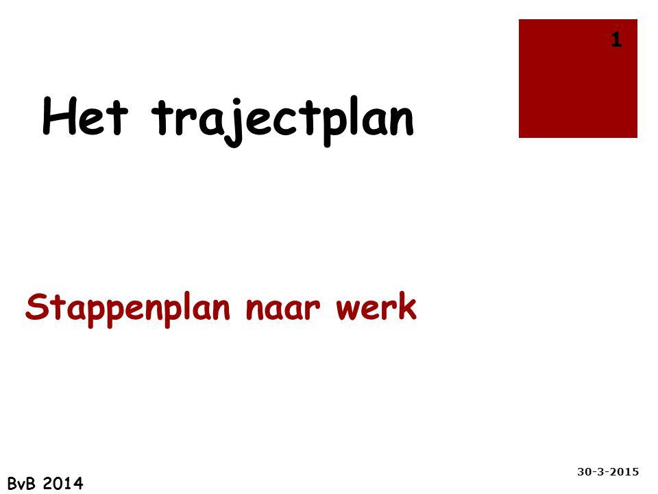 Stappenplan naar werk 30-3-2015 1 Het trajectplan BvB 2014