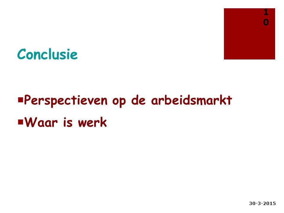 Conclusie  Perspectieven op de arbeidsmarkt  Waar is werk 30-3-2015 10