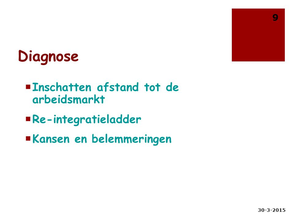 Diagnose  Inschatten afstand tot de arbeidsmarkt  Re-integratieladder  Kansen en belemmeringen 30-3-2015 9