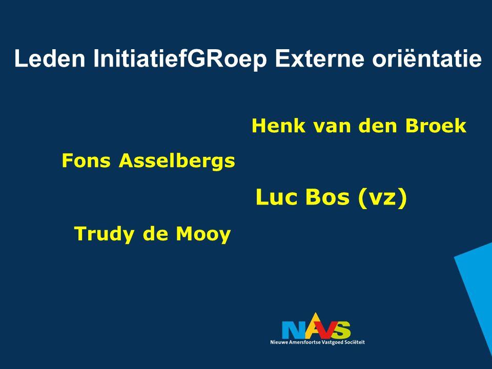 Leden InitiatiefGRoep Externe oriëntatie Fons Asselbergs Henk van den Broek Trudy de Mooy Luc Bos (vz)