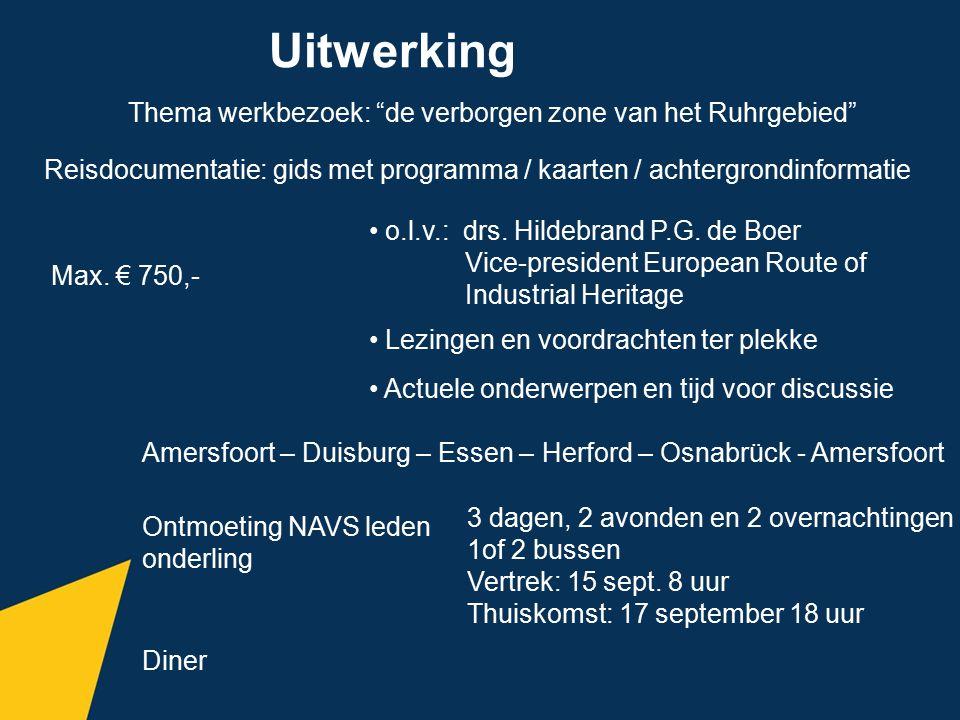 """Uitwerking Thema werkbezoek: """"de verborgen zone van het Ruhrgebied"""" Reisdocumentatie: gids met programma / kaarten / achtergrondinformatie o.l.v.: drs"""