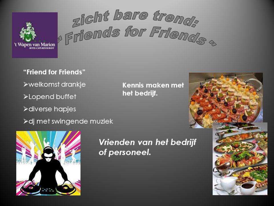 """""""Friend for Friends""""  welkomst drankje  Lopend buffet  diverse hapjes  dj met swingende muziek Vrienden van het bedrijf of personeel. Kennis maken"""