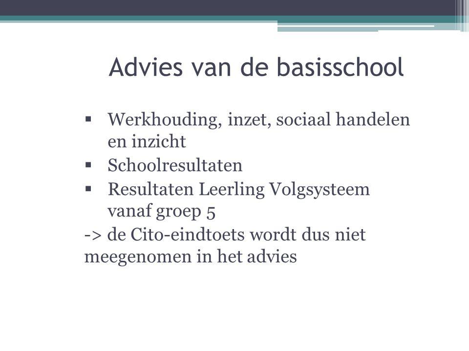 Advies van de basisschool  Werkhouding, inzet, sociaal handelen en inzicht  Schoolresultaten  Resultaten Leerling Volgsysteem vanaf groep 5 -> de Cito-eindtoets wordt dus niet meegenomen in het advies