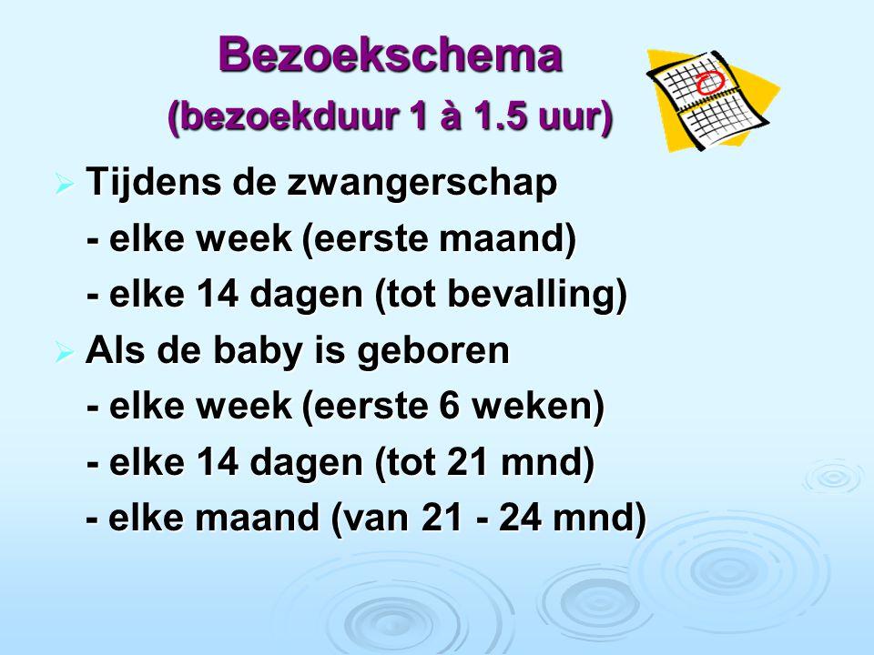 Bezoekschema (bezoekduur 1 à 1.5 uur)  Tijdens de zwangerschap - elke week (eerste maand) - elke 14 dagen (tot bevalling)  Als de baby is geboren - elke week (eerste 6 weken) - elke 14 dagen (tot 21 mnd) - elke maand (van 21 - 24 mnd) - elke maand (van 21 - 24 mnd)