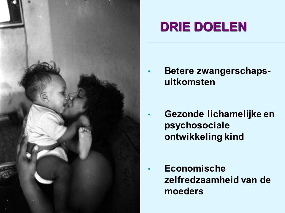 DRIE DOELEN Betere zwangerschaps- uitkomsten Gezonde lichamelijke en psychosociale ontwikkeling kind Economische zelfredzaamheid van de moeders