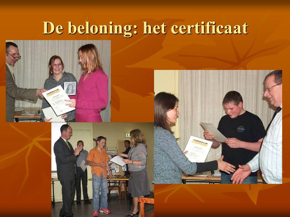 De beloning: het certificaat