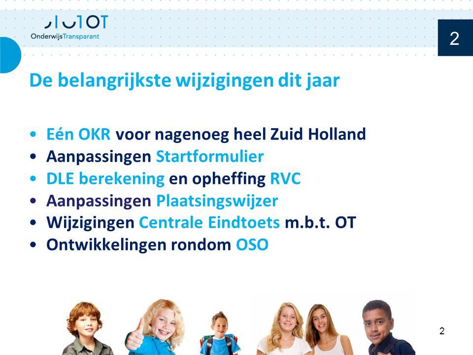 Eén OKR voor nagenoeg heel Zuid Holland Aanpassingen Startformulier DLE berekening en opheffing RVC Aanpassingen Plaatsingswijzer Wijzigingen Centrale Eindtoets m.b.t.