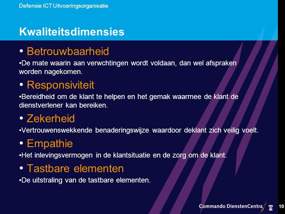 Defensie ICT Uitvoeringsorganisatie 10 Kwaliteitsdimensies Betrouwbaarheid De mate waarin aan verwchtingen wordt voldaan, dan wel afspraken worden nagekomen.