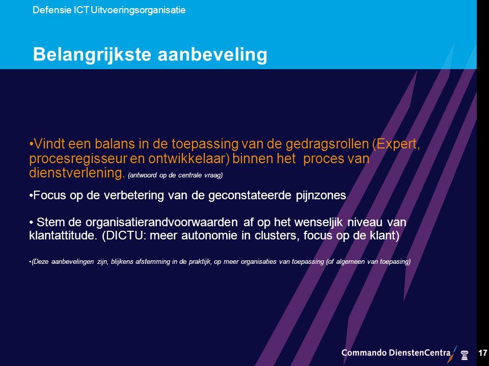 Defensie ICT Uitvoeringsorganisatie 17 Belangrijkste aanbeveling Vindt een balans in de toepassing van de gedragsrollen (Expert, procesregisseur en ontwikkelaar) binnen het proces van dienstverlening.
