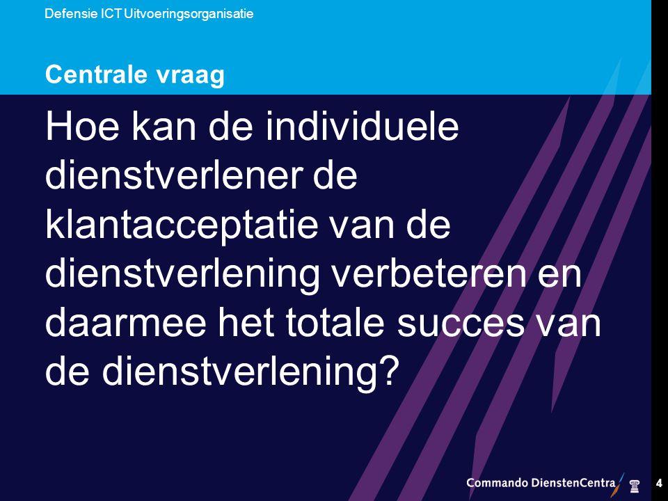 4 Centrale vraag Hoe kan de individuele dienstverlener de klantacceptatie van de dienstverlening verbeteren en daarmee het totale succes van de dienstverlening?