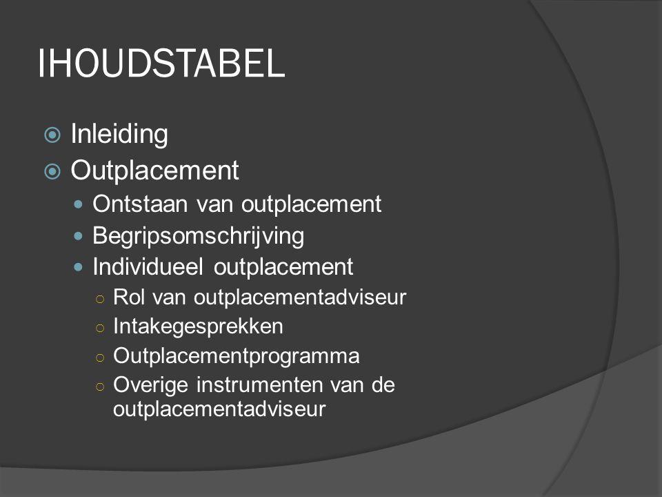 IHOUDSTABEL  Inleiding  Outplacement Ontstaan van outplacement Begripsomschrijving Individueel outplacement ○ Rol van outplacementadviseur ○ Intakeg