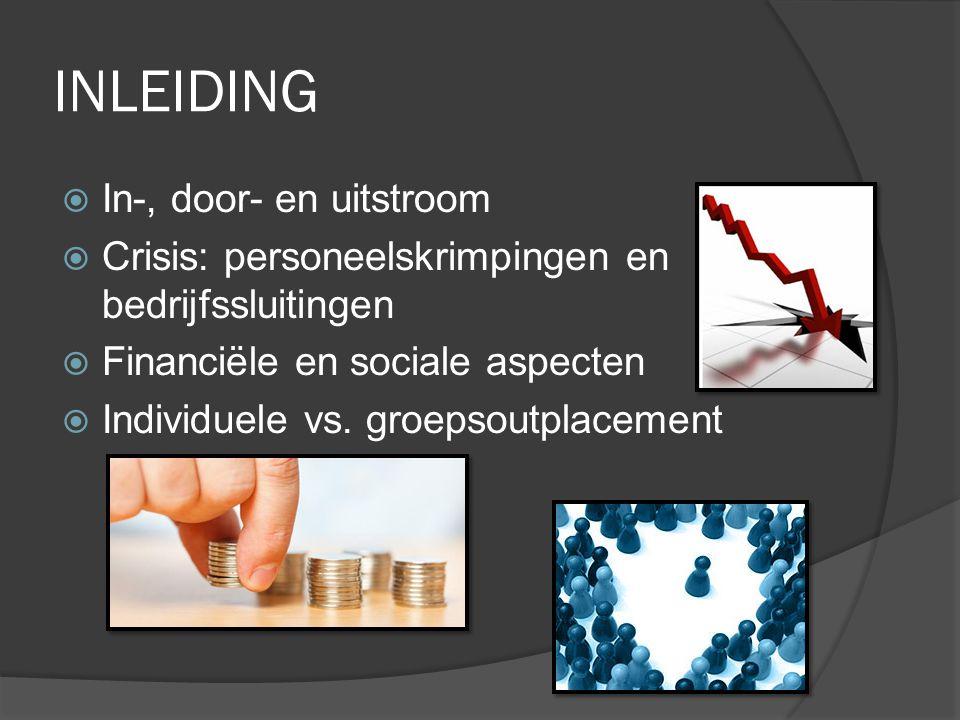 INLEIDING  In-, door- en uitstroom  Crisis: personeelskrimpingen en bedrijfssluitingen  Financiële en sociale aspecten  Individuele vs. groepsoutp