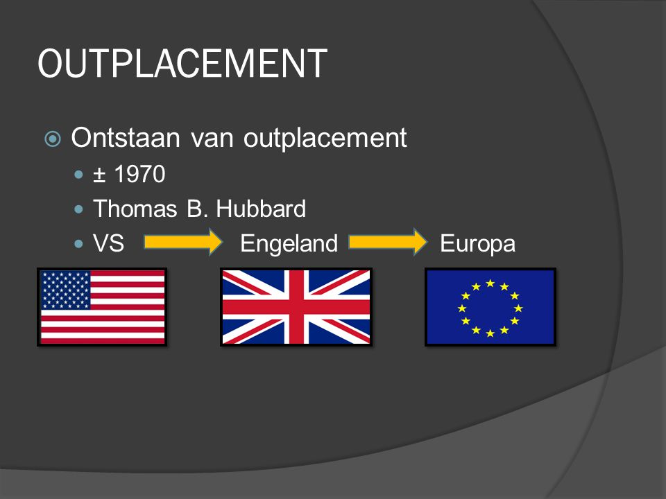 OUTPLACEMENT  Ontstaan van outplacement ± 1970 Thomas B. Hubbard VSEngeland Europa