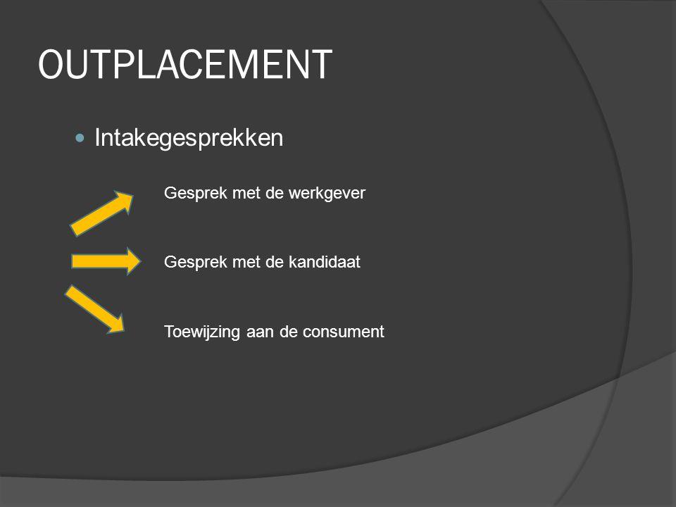 OUTPLACEMENT Intakegesprekken Gesprek met de werkgever Gesprek met de kandidaat Toewijzing aan de consument