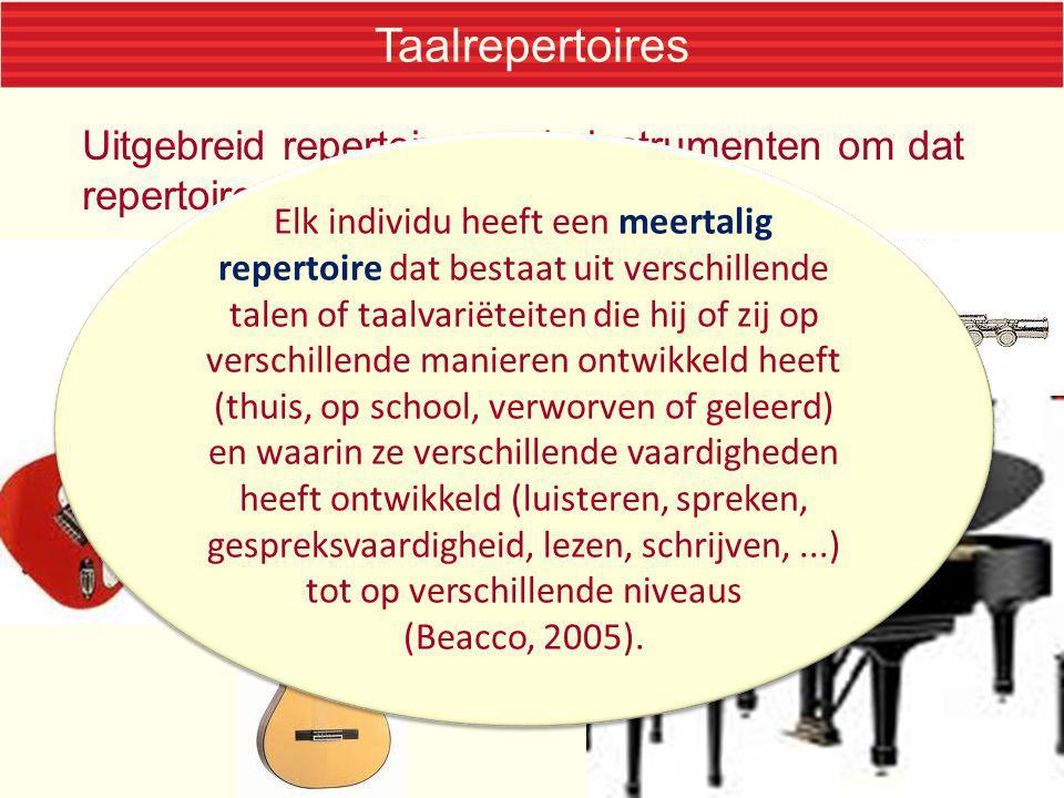 Taalrepertoires Uitgebreid repertoire en de instrumenten om dat repertoire te vertolken Elk individu heeft een meertalig repertoire dat bestaat uit ve