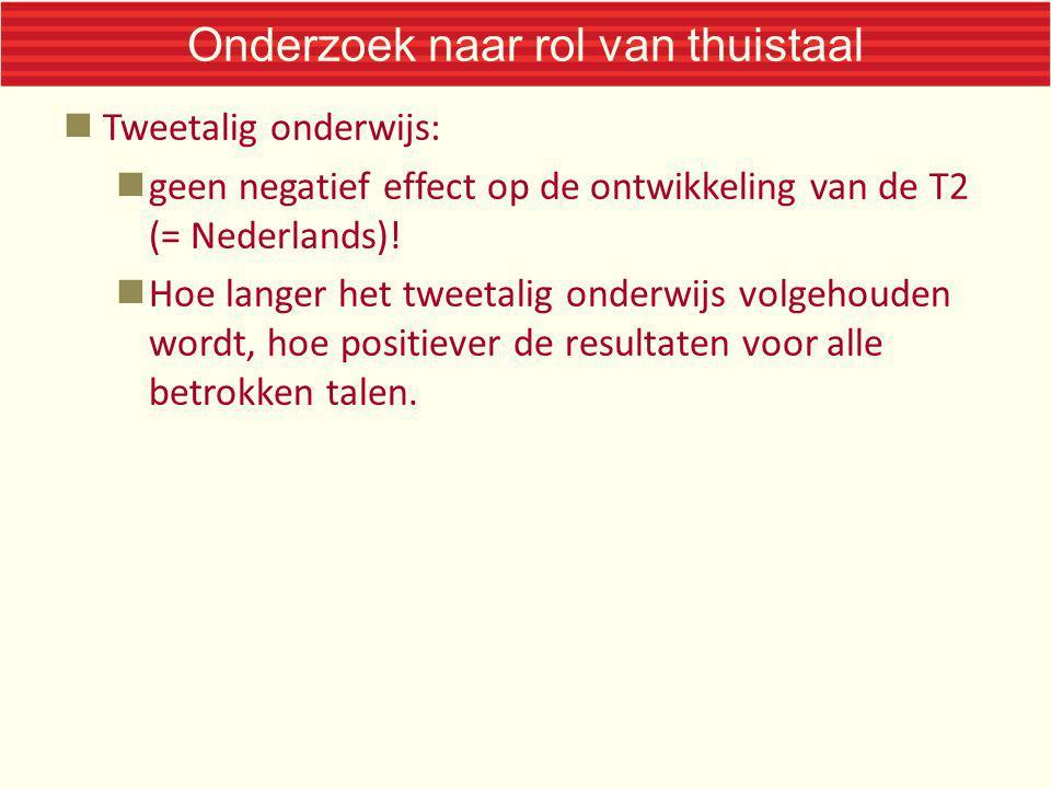 Onderzoek naar rol van thuistaal Tweetalig onderwijs: geen negatief effect op de ontwikkeling van de T2 (= Nederlands)! Hoe langer het tweetalig onder