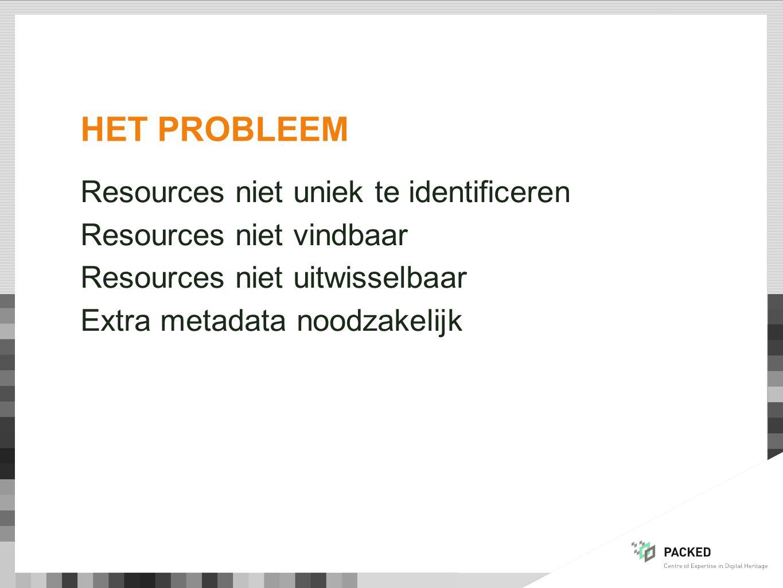 HET PROBLEEM Resources niet uniek te identificeren Resources niet vindbaar Resources niet uitwisselbaar Extra metadata noodzakelijk