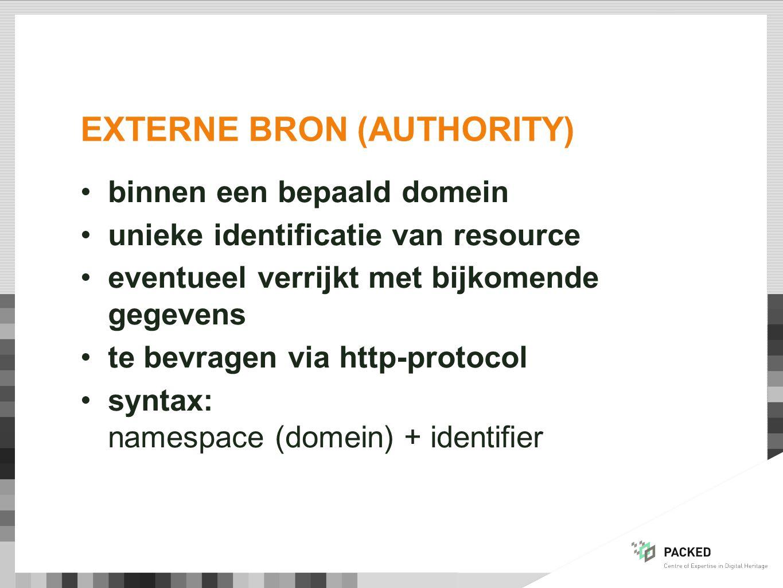 EXTERNE BRON (AUTHORITY) binnen een bepaald domein unieke identificatie van resource eventueel verrijkt met bijkomende gegevens te bevragen via http-protocol syntax: namespace (domein) + identifier