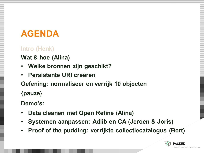 AGENDA Intro (Henk) Wat & hoe (Alina) Welke bronnen zijn geschikt.