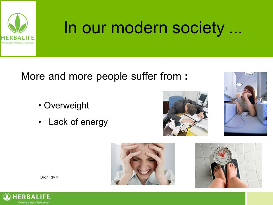 Voeding voor een beter leven In our modern society... More and more people suffer from : Overweight Lack of energy Bron:RIVM