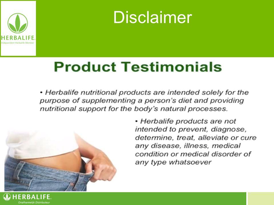 Disclaimer De Herbalife-voedingsproducten zijn uitsluitend bestemd ter aanvulling van een evenwichtig eetpatroon en het verstrekken van ondersteuning