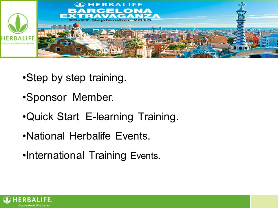 Voeding voor een beter leven Step by step training. Sponsor Member. Quick Start E-learning Training. National Herbalife Events. International Training