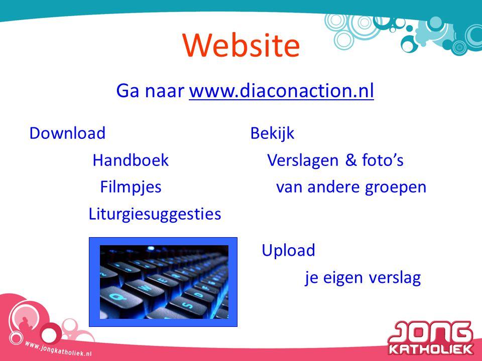 Website Download Handboek Filmpjes Liturgiesuggesties Bekijk Verslagen & foto's van andere groepen Ga naar www.diaconaction.nlwww.diaconaction.nl Upload je eigen verslag