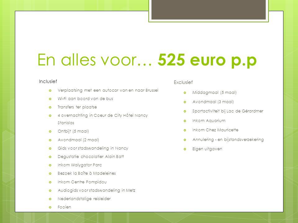 En alles voor… 525 euro p.p Inclusief  Verplaatsing met een autocar van en naar Brussel  Wi-Fi aan boord van de bus  Transfers ter plaatse  4 over