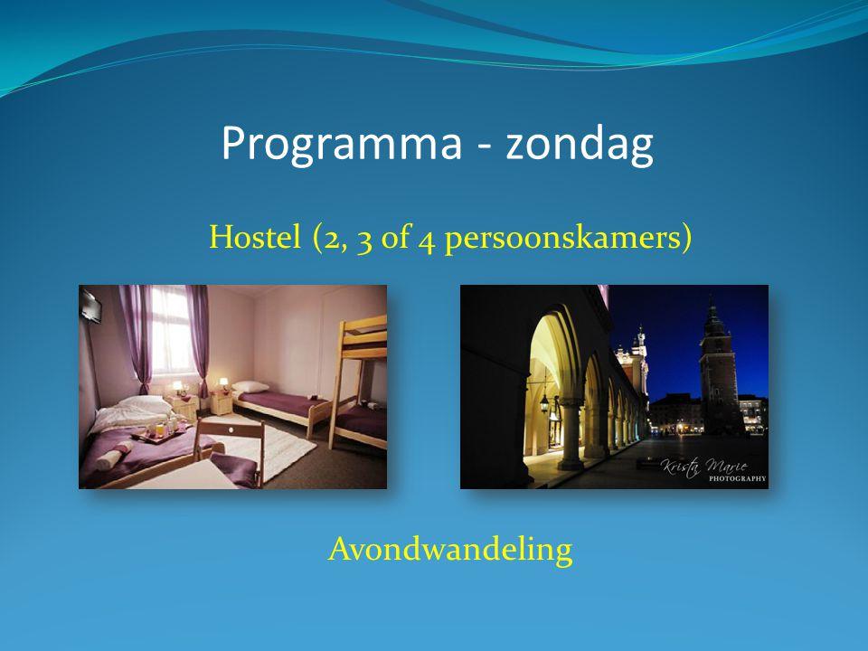Programma - zondag Hostel (2, 3 of 4 persoonskamers) Avondwandeling
