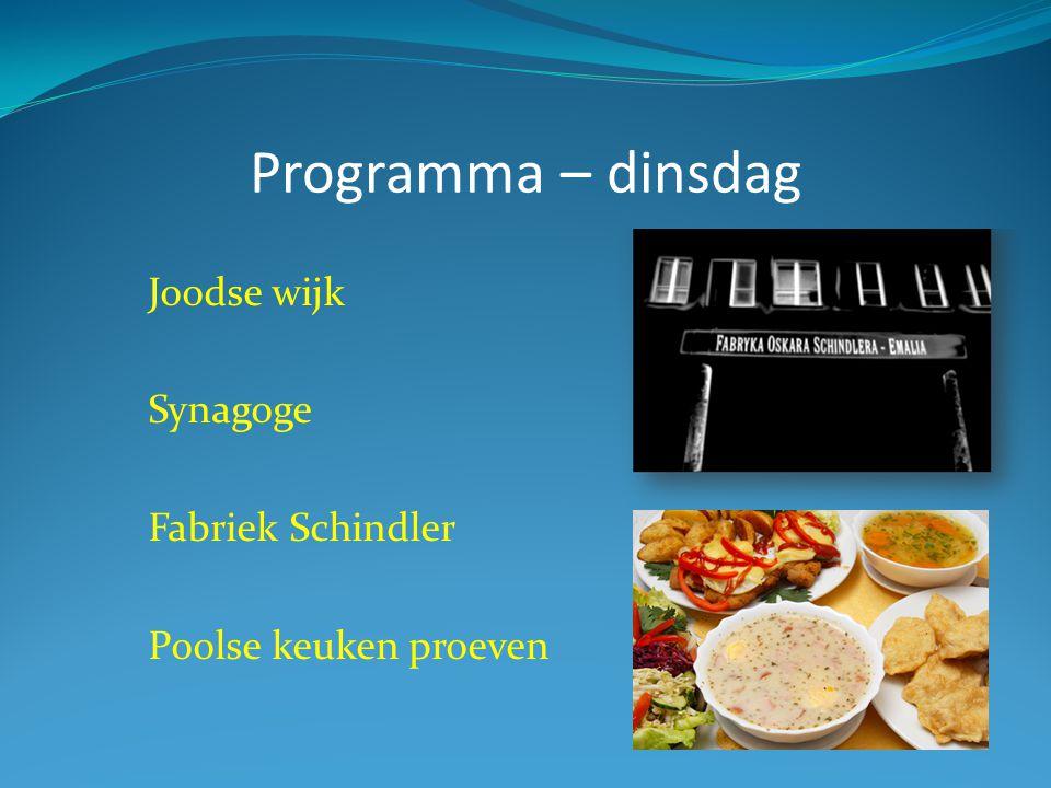 Programma – dinsdag Joodse wijk Synagoge Fabriek Schindler Poolse keuken proeven