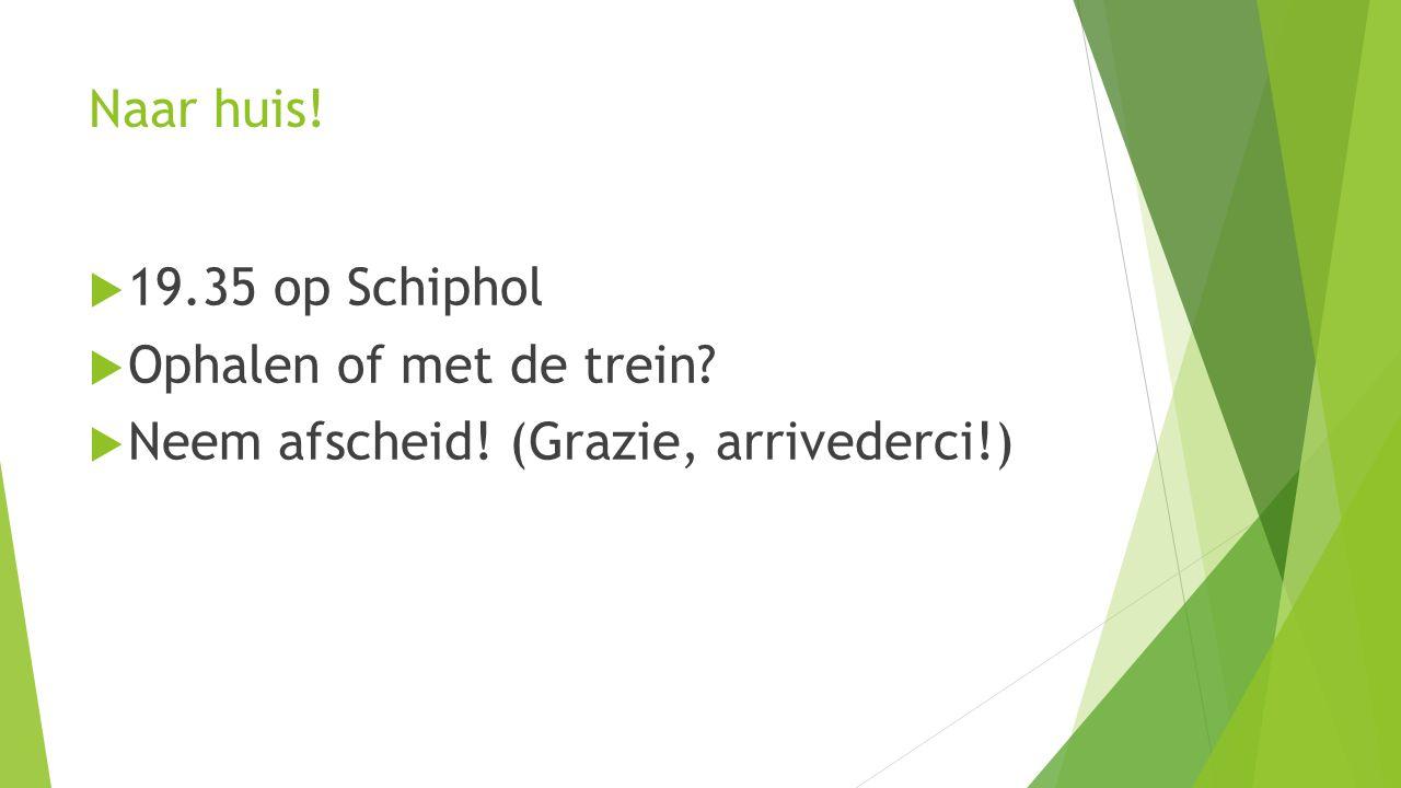Naar huis!  19.35 op Schiphol  Ophalen of met de trein  Neem afscheid! (Grazie, arrivederci!)