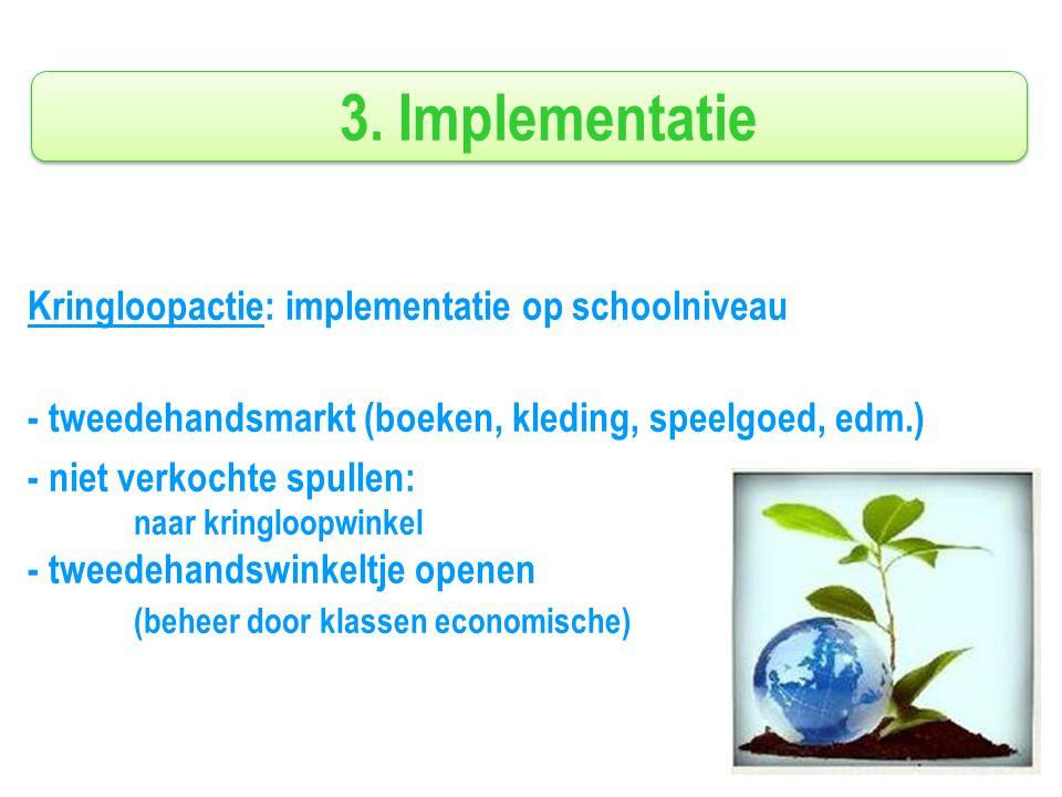 3. Implementatie Kringloopactie: implementatie op schoolniveau - tweedehandsmarkt (boeken, kleding, speelgoed, edm.) - niet verkochte spullen: naar kr