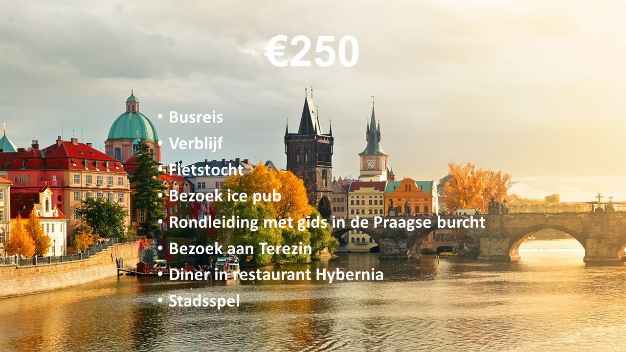 €250 Busreis Verblijf Fietstocht Bezoek ice pub Rondleiding met gids in de Praagse burcht Bezoek aan Terezin Diner in restaurant Hybernia Stadsspel