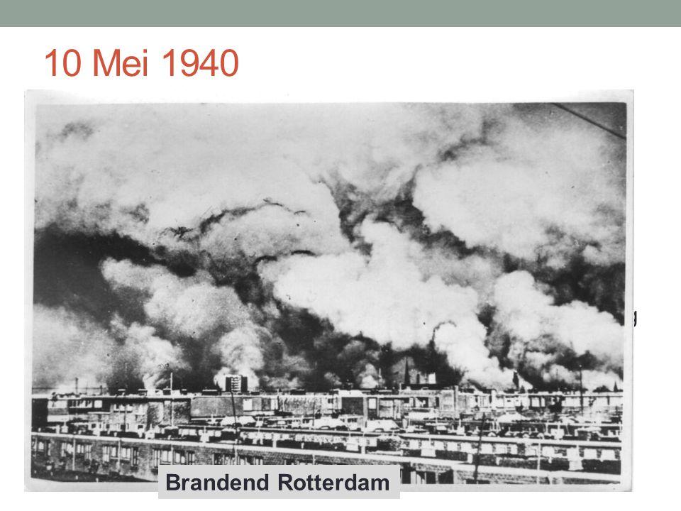 10 Mei 1940 10 Mei 1940: aanval op Nederland als onderdeel van de Blitzkrieg op West-Europa 14 mei 1940: bombardement op Rotterdam 15 mei 1940: Nederland capituleert Koningin en regering vluchten naar Engeland Achtergebleven bestuurders hebben opdracht 'in belang van volk' met de 'nieuwe gezagsdragers' samen te werken'.