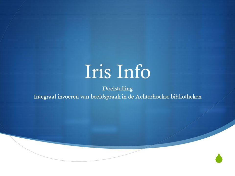  Iris Info Doelstelling Integraal invoeren van beeldspraak in de Achterhoekse bibliotheken