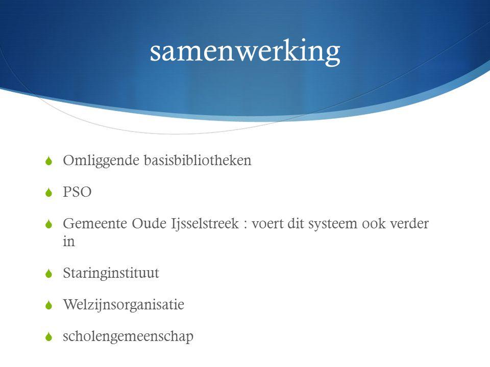 samenwerking  Omliggende basisbibliotheken  PSO  Gemeente Oude Ijsselstreek : voert dit systeem ook verder in  Staringinstituut  Welzijnsorganisatie  scholengemeenschap