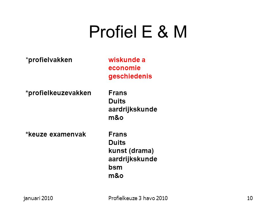 januari 2010Profielkeuze 3 havo 201010 Profiel E & M *profielvakkenwiskunde a economie geschiedenis *profielkeuzevakkenFrans Duits aardrijkskunde m&o