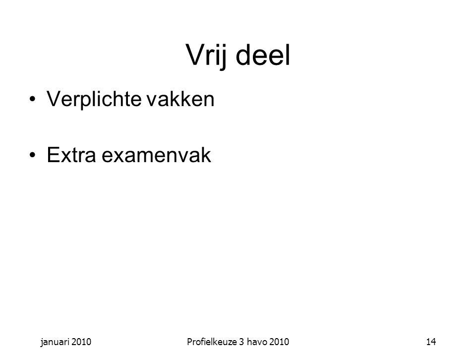 januari 2010Profielkeuze 3 havo 201014 Vrij deel Verplichte vakken Extra examenvak